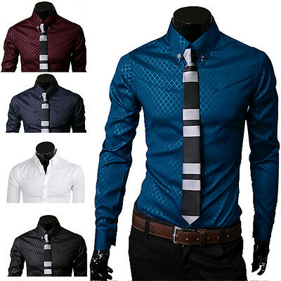 2016 Homme Mince Chemise solide luxe formelle Business manches longues Slim Fit