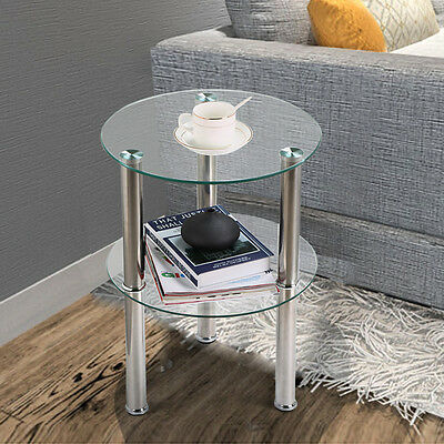 2 Tier Modern Clear Small Round Glass Sofa Side End Coffee Table Chrome Steel