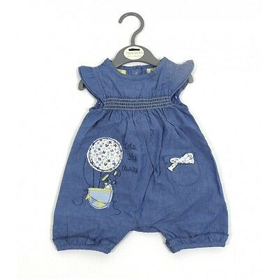 Baby Girls Denim Bunny Rabbit Bow Cotton Summer Romper Newborn 0 3 6 9 Months