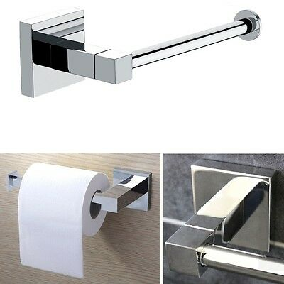 Bathroom Accessory Chrome Square Wall Mounted Toilet Roll Tissue Paper Holder UK