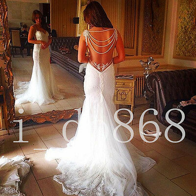Sexy Backless Lace Bridal Gown Mermaid Wedding Dress Custom Size 6 8 10 12 14 16