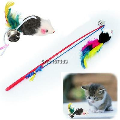Funny Pet Cat Kitten Feather Bell Play Toy Fun Catch Dangle False Mouse Rat Rod