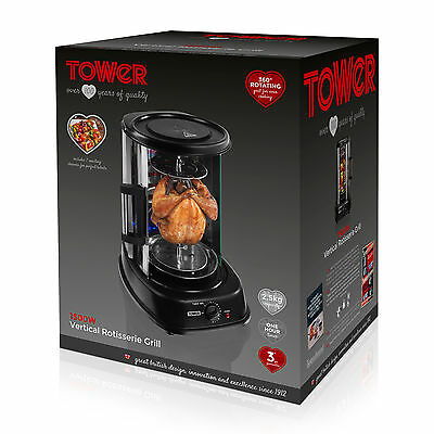 Tower T14005 Rotisserie Grill 1500w - Ideal for Kebabs and Chickens  Black - NEW