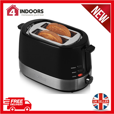 Tower T20004 2 Slice Toaster - Adjustable browning control - Black / Silver NEW