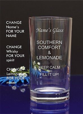 Personalised Engraved Hi ball SOUTHERN COMFORT AND LEMONADE gift glass9