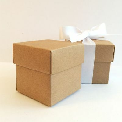"""Luxury Lined Vintage ECO Kraft Wedding Favour Boxes With Lids """"Cheapest on Ebay"""""""