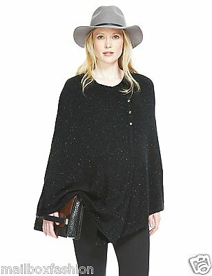 Ex M&S Maternity Poncho Wrap Cape Knitted Silver Thread Nursing Top Size 10-20
