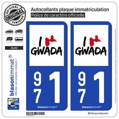 2 Stickers autocollants plaque immatriculation auto | 971 Guadeloupe - I'm Gwada