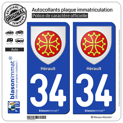 2 Stickers autocollants plaque d'immatriculation auto | 34 Hérault - Armoiries