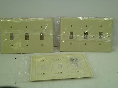 (3) Ivory Switch Wall Face Plate Cover With Screws 3 Gang Smooth Face Toggle Cb