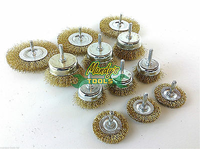 12x Drill Wire Wheel Brush Cup & Flat Crimped Steel Drill Attachment Brushes MTG