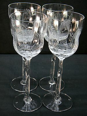 4 Vintage Tulip Shaped Spiegelau Crystal Water Goblets w/ Clear and Frosted Stem