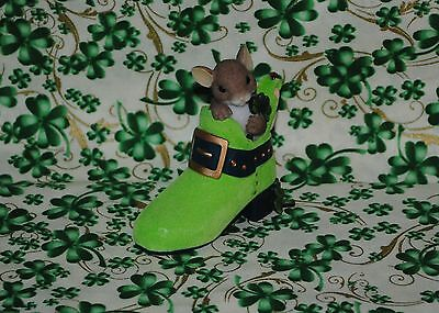 "Charming Tails ""you're One Lucky Sole"" Patricks Day Mouse Shamrock Irish Shoe"