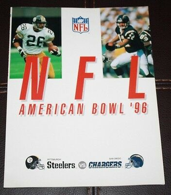 1996 Nfl American Bowl Pittsburgh Steelers Vs. S.d. Chargers Program Nm-Mint!