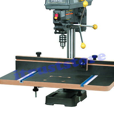 Drill Press Bench Top Add On Extension Workspace Surface Table Board Fence Clamp