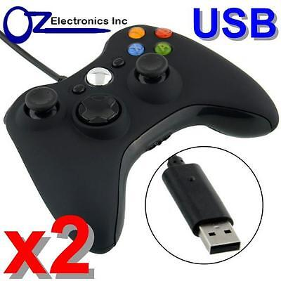 2 X Xbox 360 Black Wired Game Pad Controller For Microsoft PC USB FREE SHIPPING