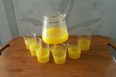 Mid Century Vintage 1960s Yellow  Blendo Flat Bottom Martini Set - 6 Glasses