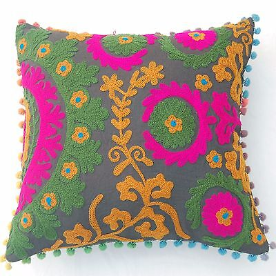 "Indian Suzani Embroidery Handmade Pillow Cushion Covers Floral 2 PCS 16x16"" A1"
