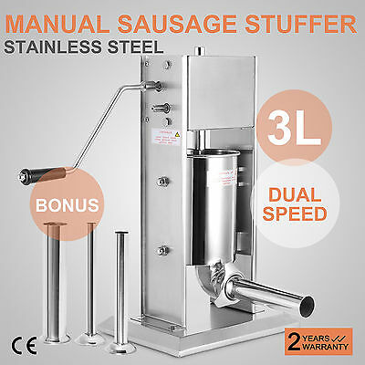 3L 3 L Commercial Sausage Stuffer Manual Control Meat Press Dual Speed