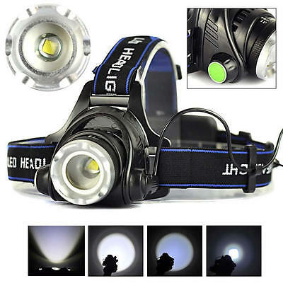 6000LM XML T6 LED Zoomable 3 Modes Headlight Headlamp Head Torch Lamp
