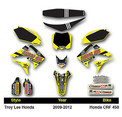 Lucas Oils Neon Yellow Honda 09 -12 CRF450 - 10 -13 CRF250 Graphics + Seat Cover