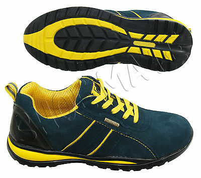 New Mens Navy Leather Safety Steel Toe Cap Lightweight Ankle Work Shoes Trainers
