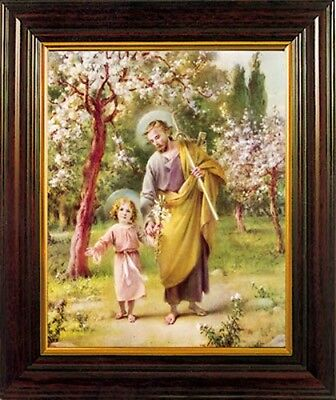 Saint Joseph & Infant Jesus Framed Picture - Crucifixes Statues & Candles Listed