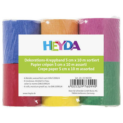 Heyda Crepe Paper Streamer Ribbon Rolls - Assorted Colours #203376099
