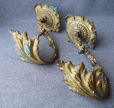 Pair of antique french hooks hangers made of bronze 19th century Louis XV style