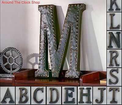 Vintage Metal Monogram Initials Industrial Style Wall Hanging Letters Art Decor