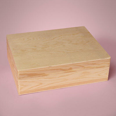 """NEW NATURAL PLYWOOD HINGED BOX UNFINISHED INTERIOR 11-3/8x8-1/2x3"""" Deep Magnetic"""