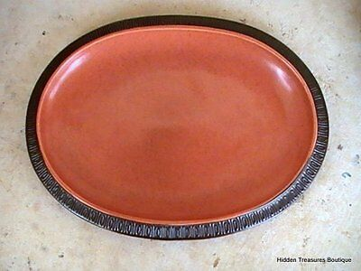 Red Wing Hearthstone Orange Embossed Brown Speckled Oval Platter Chip
