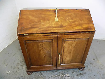 antique,victorian,mahogany,bureau,desk,bun feet,drawers,cupboard,writing desk