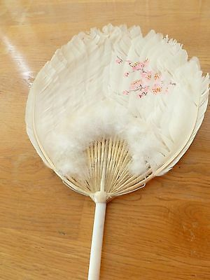 Vintage Chinese Canton White Feather Hand Painted Fan/Face Screen