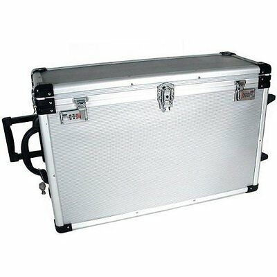 24 Trays Large Aluminum Rolling Jewelry Carrying Case, New, Free Shipping