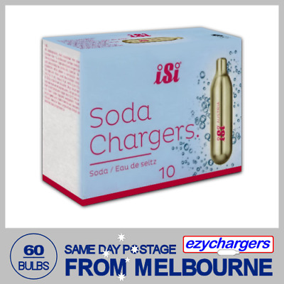60 Soda Chargers Bulbs Isi 10 Pack X 6 Co2 Carbon Dioxide Syphon Sparkling