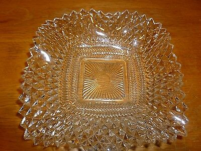 Vintage Ruffle Edges Clear Glass Square Dish With Scalloped Edges