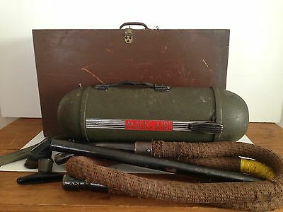 Vintage Magic Aire Vacuum Cleaner w/ Accessories & Wooden Box Electrolux Style