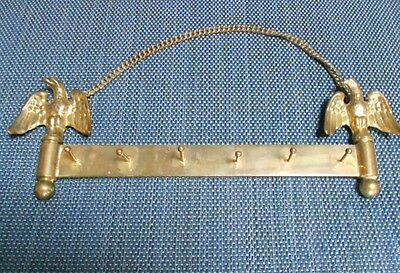 Vintage European Solid BRASS TOWEL KEY Rack EAGLES HOLDER marked 6 HOOKS