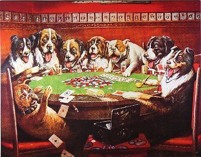 Dogs Playing Poker Metal Tin Sign, New, Free Shipping