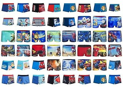 Boys Disney Marvel Spiderman Cars Paw Patrol Swimming Boxer Swim Trunk Age 2-12