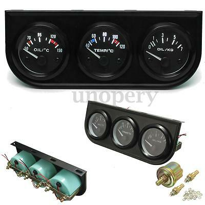 2 Inch 52mm Oil Temp Pressure Water Temp Electronic Gauge Kits 3 Hole Stent