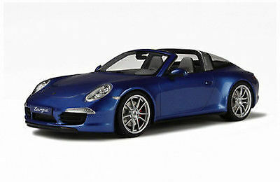 Genuine New GT Spirit Porsche 911 991 Carrera Targa 4S Model Car 1:18 Blue GT037