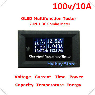 Oled LCD 100v 10A DC Digital Combo Meter Voltage Power Capacity Panel Monitor