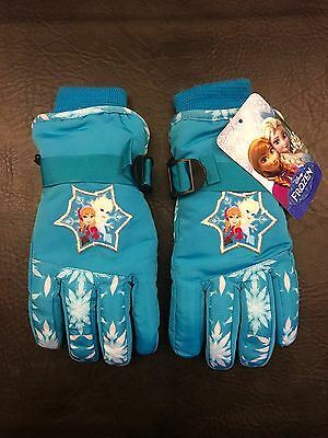 Official Disney Frozen Elsa Anna Girls Gloves Size 4-7 Blue (NWT) Mittens Kids