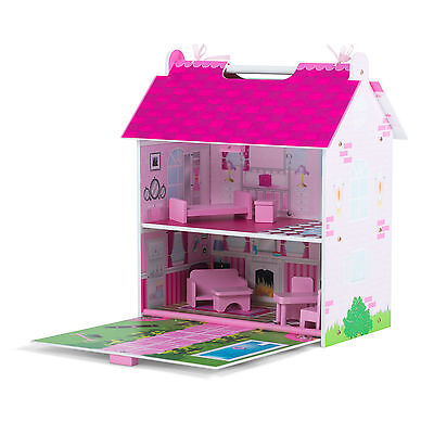 Plum® Hove Wooden Dolls House Pink Palace