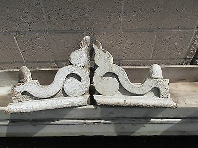 PAIR c1880 VICTORIAN gingerbread CORBEL brackets W/FINIAL drops 16 x 14x5 *AS IS