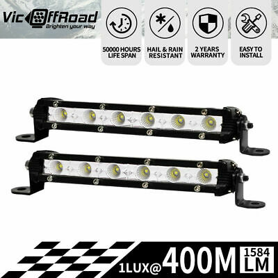 Pair 7inch Super Slim 30W CREE LED Light Bar Flood Work OFFROAD Driving Lamp ...