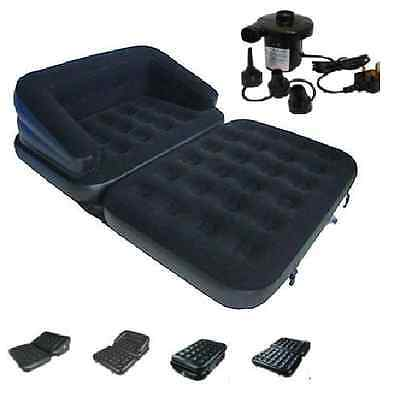 NEW 5 in 1 INFLATABLE DOUBLE SOFA COUCH LOUNGER MATTRESS AIRBED W ELECTRIC PUMP