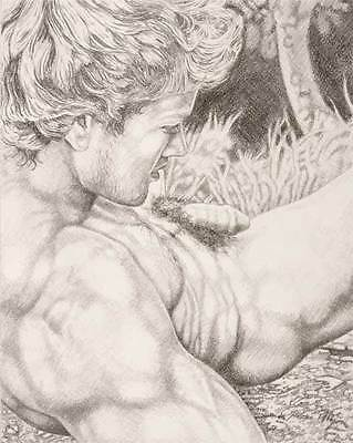 "9"" x 12"" drawing print nude male in great outdoors gay interest"